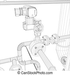 Industrial equipment. Wire-frame vector - Wire-frame...