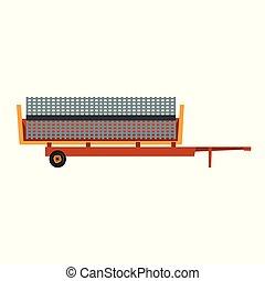 industrial, equipo de granja, remolque, vector, ilustración...