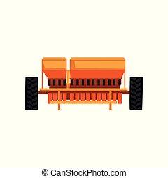 industrial, equipo de granja, vector, sembradora, ...