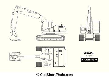 industrial, esboço, escavador, branca, diesel, hidráulico, desenho, experiência., topo, maquinaria, frente, blueprint., vista., documento, cavador, lado, image.