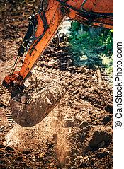Industrial, escavador, caminhão, carregador, em movimento, terra