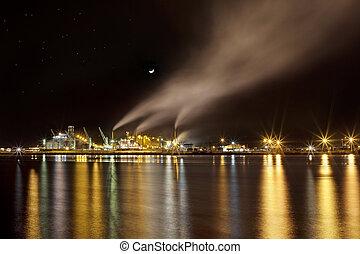 industrial, escena noche