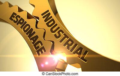 Industrial Espionage Concept. Golden Metallic Cogwheels. 3D.