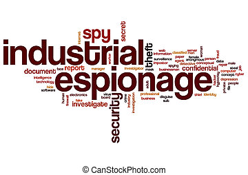 Industrial espionage word cloud concept with security theft...