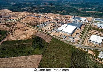 Industrial Estate Land Development Aerial View in Thailand -...