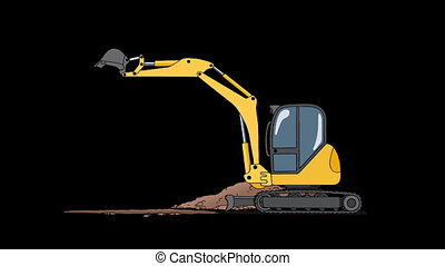 Industrial Excavator Digging Hole. Animation with Alpha...