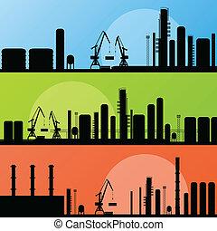 industrial, fábrica, e, guindaste, local construção