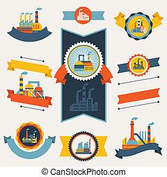 industrial, fábrica, edifícios, bandeiras, fitas, e, badges.