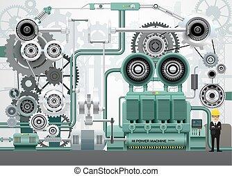 industrial, fábrica, ilustração, equipamento, engenharia, vetorial, maquinaria, construção