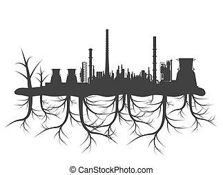industrial, fábrica, planeta, concepto, negro, raíces,...