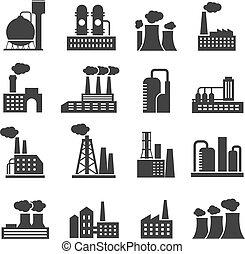 industrial, fábrica, y, planta, edificios, vector, iconos, conjunto
