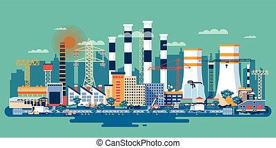 industrial, fábricas, zona
