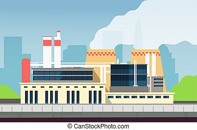 Industrial factory building construction exterior with city landscape. Environmental protection and eco technology plant