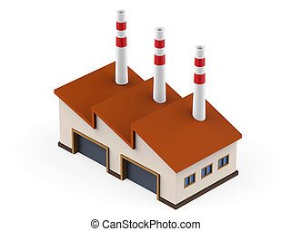 Industrial Factory Building isolated on white background. 3D...
