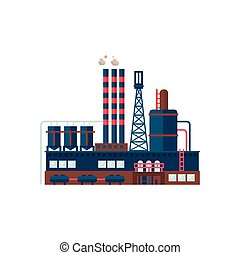 Industrial Factory Building Vector Illustration