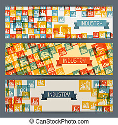 Industrial factory buildings horizontal banners.