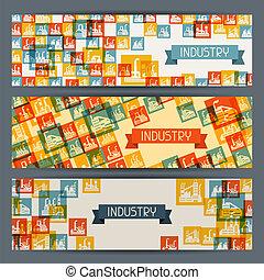 Industrial factory buildings horizontal banners.