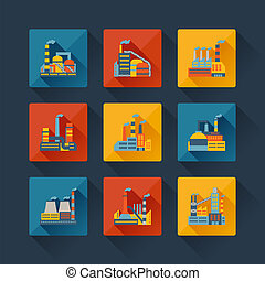 Industrial factory buildings icons set in flat design style.