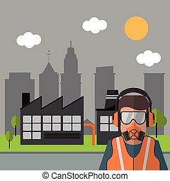 Industrial factory design, Vector illustration