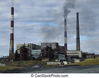 Old factory in Russia. Harmful pollution, obsolete technology.