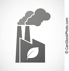 Industrial factory icon with a leaf