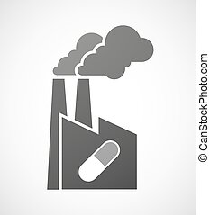 Industrial factory icon with a pill