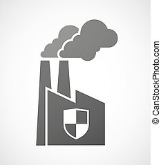 Industrial factory icon with a shield