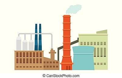 Industrial factory in flat style a vector an illustration. Detailed Plant or Factory Building with solid color design.