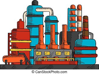 Industrial factory or plant with pipes