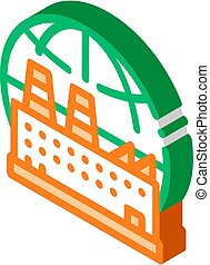 Industrial Factory Planet isometric icon vector illustration