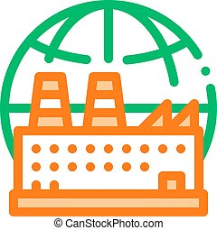 Industrial Factory Planet Vector Thin Line Icon