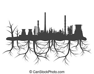 Industrial factory pollution concept with black planet roots