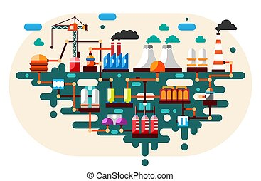 Industrial factory technology process with ecology concept. Flat illustration.
