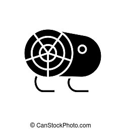 industrial fan heater icon, vector illustration, black sign on isolated background