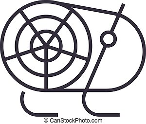 industrial fan, heater vector line icon, sign, illustration on background, editable strokes
