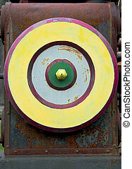 Industrial focus - Multicolored wheel of the vintage rusty ...