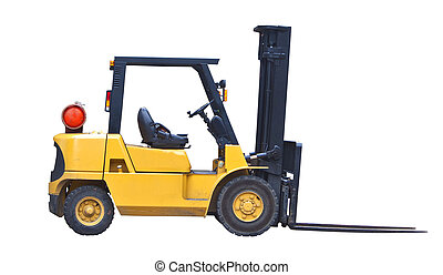 fork lift truck isolated on white - industrial fork lift...