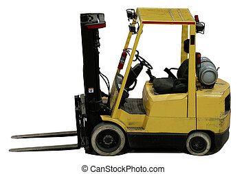 industrial forklift with an empty load used in shipping ...