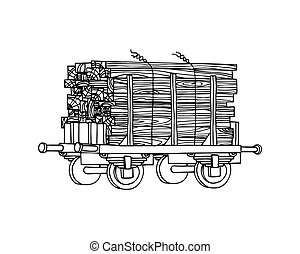 industrial freight railroad wagon with pack of wooden boards, logistic, railway cargo transportation