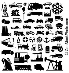 industrial, função, silhouettes., um, vetorial, ilustração