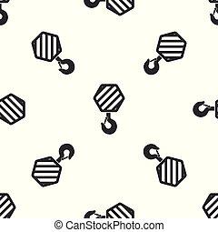 industrial, gancho, padrão, guindaste, cinzento, ilustração, isolado, experiência., vetorial, seamless, icon., branca, ícone