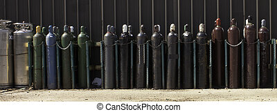 Industrial Gas Bottles-2 - Securely Stored & Chained...
