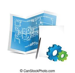 industrial gear blueprints illustration design