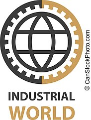 industrial gear world simple symbol vector