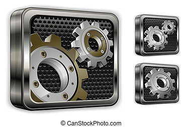 gears in square icons