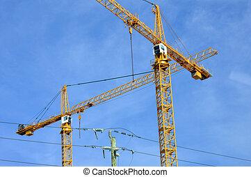 industrial, grúa, rascacielos, construya
