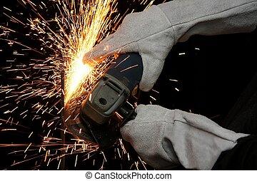 Industrial Grinding Orange Sparks - Shower of orange sparks...