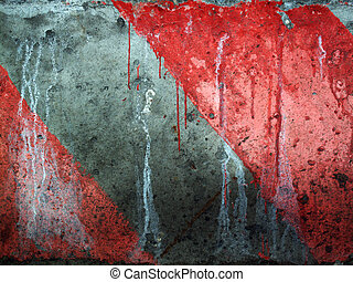 Grungy red and gray diagonal caution stripes background