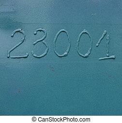 industrial grunge solder number 2 3 0 and 1 on blue metal