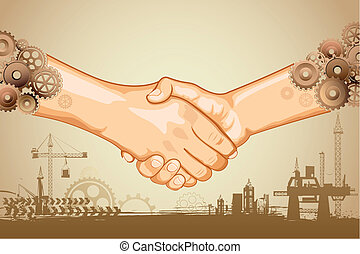 illustration of hand shake with cog wheel hand on industrial background